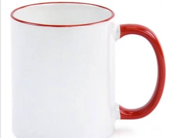 36qty Red Handle 11 ounce Blank Sublimation Coffee Mugs