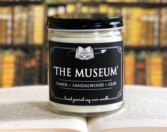 The Museum - 9oz Handpoured Soy Candle- Amber + Sandalwood + Clay - Museum Lover Candle - Art Inspired Gift - Gifts for Artists - Tableau