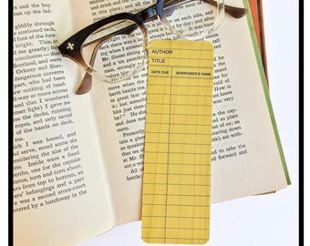 Yellow Library Book Card design. Wooden Maple Bookmark