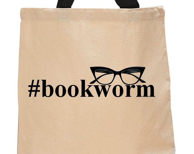 Bookworm-Cotton Canvas Tote Bag - Book Lover Book Bag - Literary Gift - Classic Literature - Gifts for Readers - Gifts for Librairans