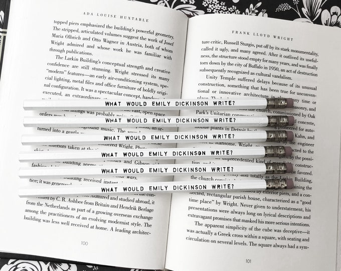 Set of 5 Emily Dickinson Inspiration Pencils - Famous Female Author - White Pencil - Foil Pressed - Gift for Writer - Writing- Reading