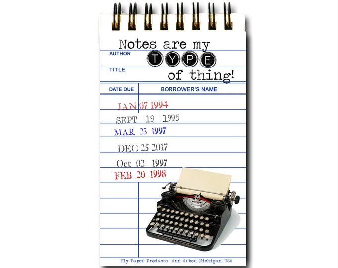 Vintage Library Card Memo Pad-30 White Pages - Spiral Bound - Note Pad - Gift for Librarians - Teacher Gift - Vintage Typewriter- Type