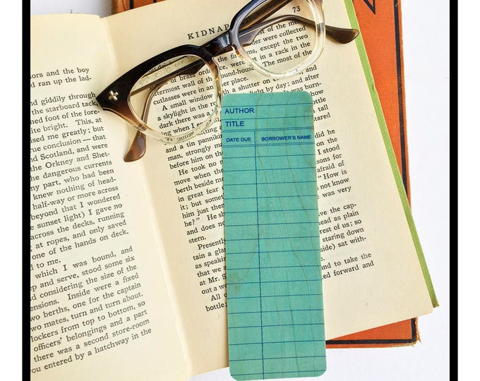Blue Library Book Card design. Wooden Maple Bookmark