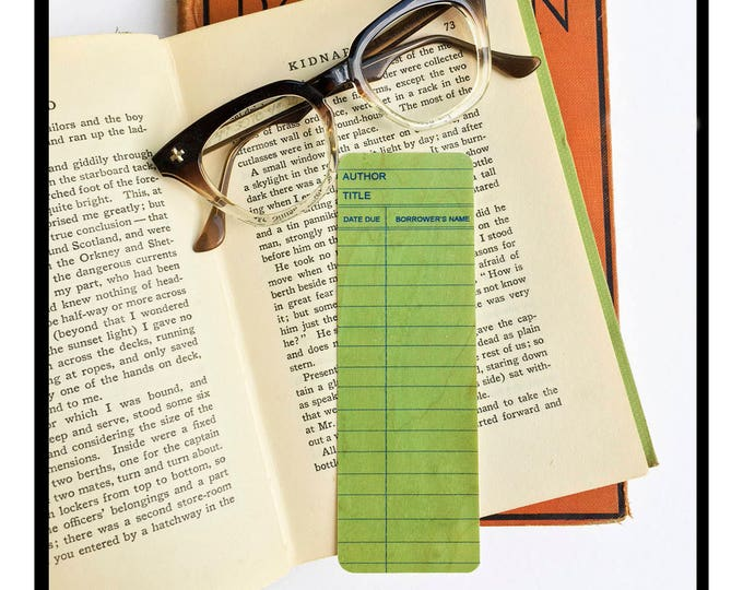 Green Library Book Card design. Wooden Maple Bookmark