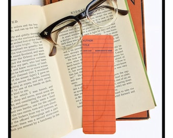 Salmon Library Book Card design. Wooden Maple Bookmark