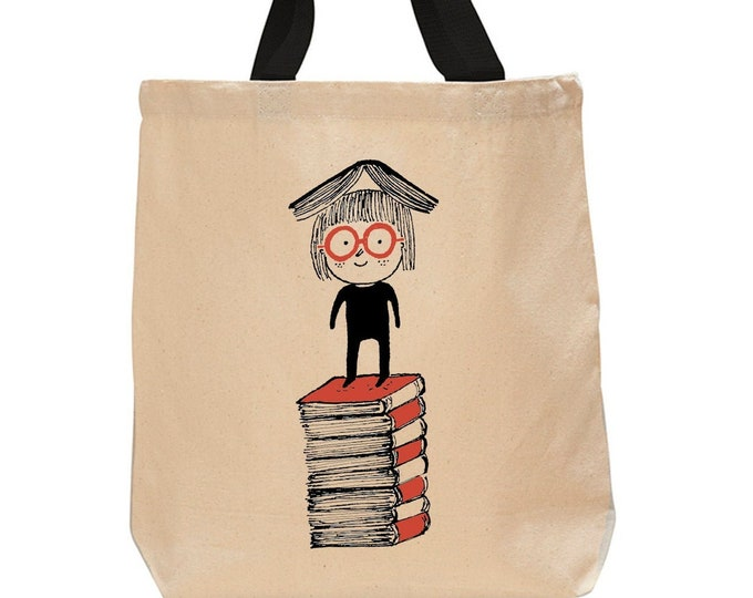 Little Girl Reading-Cotton Canvas Book Bag -Book Lover Tote Bag - Literary Gifts - Classic Tales -Childrens Literature - Stack of Books