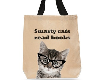 Smarty Cats Read Books! -Cotton Canvas Tote Bag