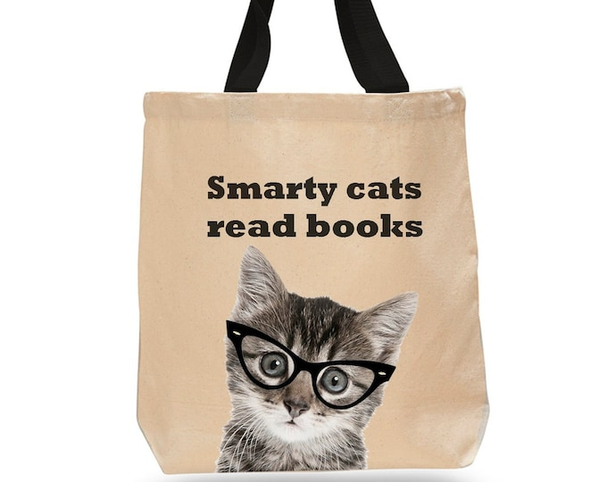 Smarty Cats Read Books! -Cotton Canvas Tote Bag- Book Lover Tote Bag - Literary Gift - Classic Literature - Gifts for Cat Lovers - Pet Gifts