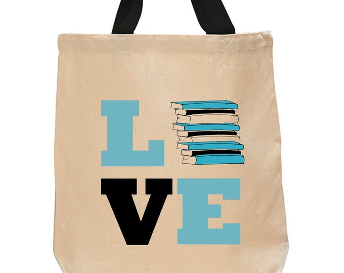 Love Books-Cotton Canvas Tote Bag -Book Lover Tote Bag - Literary Gift - Classic Literature - Gifts for Readers - Gifts for Librarians