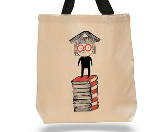 Little Girl Reading-Cotton Canvas Tote Bag -Book Lover Tote Bag - Literary Gifts - Classic Tales -Childrens Literature - Stack of Books
