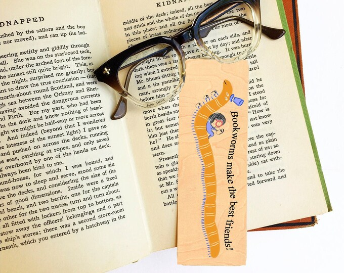 Bookworms make the best friends! Library Book Card design -Wooden Maple Bookmark- Bookish Gift- Reader Gift- Eco Friendly