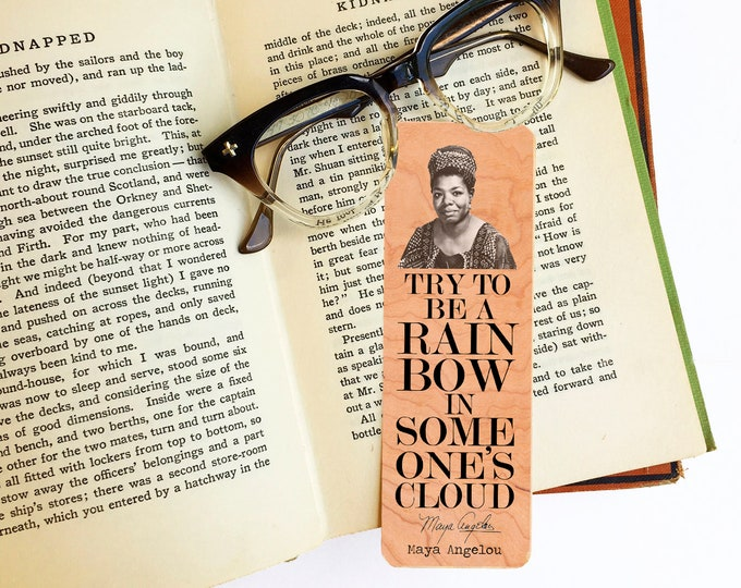 Maya Angelou Bookmark-Cherry Wood Bookmark - Eco Friendly - Literary Gift - Gifts for Book Lovers - Classic Literature -Made in Michigan