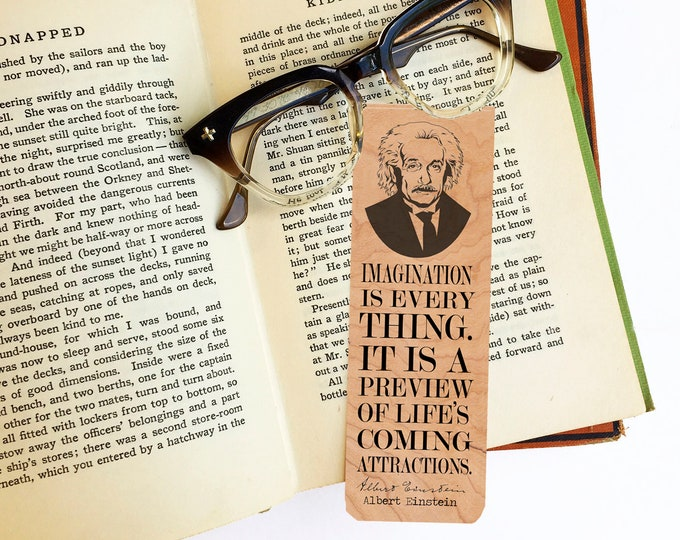Albert Einstein Bookmark- Cherry Wood Bookmark - Eco Friendly - Literary Gift - Gift for Science Lovers -Classic Figure -Made in Michigan