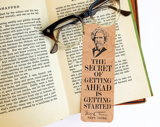 Mark Twain Bookmark- Birch Wood Bookmark - Eco Friendly - Literary Gift - Gifts for Book Lovers - Classic Literature -Made in Michigan
