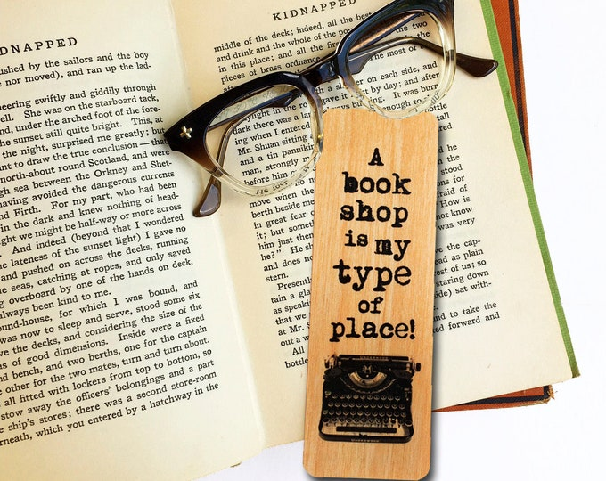 A book shop is my type of place!- Wooden Birch Bookmark- Book Store gift- Bookish Gift- Book Lovers- Eco Friendly - Made in Michigan