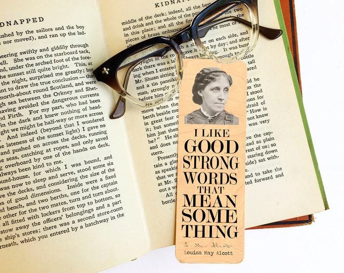Louisa May Alcott  Wood Bookmark - Eco Friendly - Literary Gift - Gifts for Book Lovers - Classic Literature -Little Women- Female Author