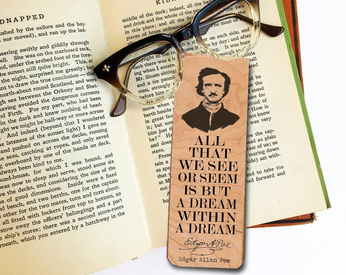 Edgar Allan Poe Bookmark -Cherry Wood Bookmark - Eco Friendly - Literary Gift - Gifts for Book Lovers - Classic Literature -The Raven