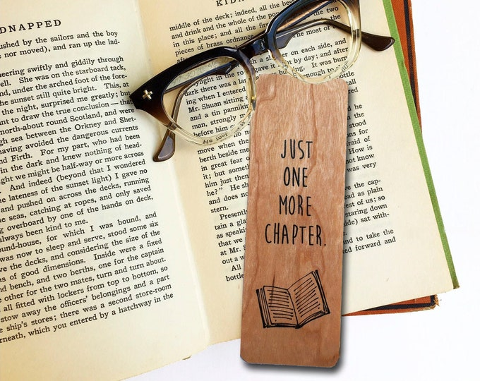 Just one more chapter- Wooden Cherry Bookmark- Reader Gift- Book Lover Gift- Bookish- Eco Friendly - Made in Michigan
