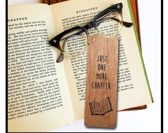 Just one more chapter. Wooden Cherry Bookmark