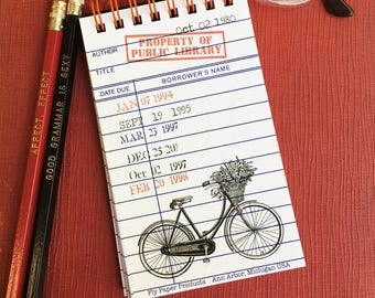 Vintage Bicycle  Library Card Memo Pad-30 White Pages
