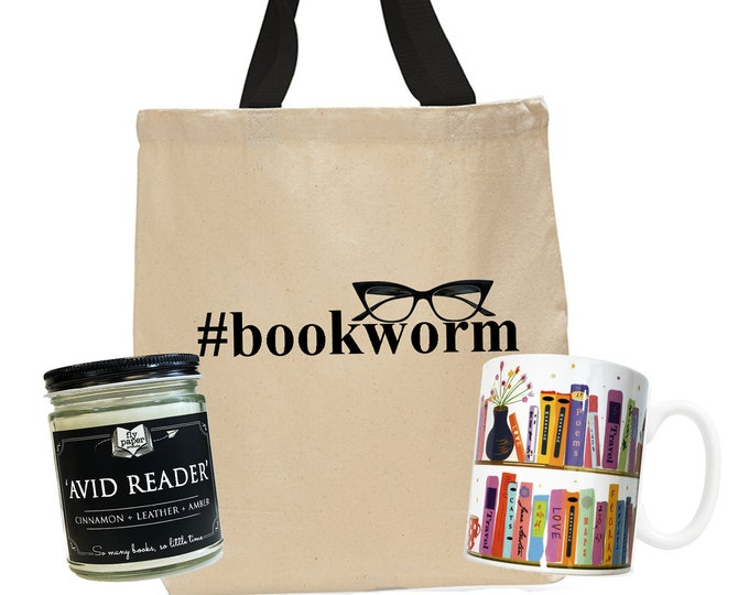 Bookworm Bundle ! - Bookish gift -Bookshelf Ceramic Mug -Coffee & Tea -Book lover Candle - Bookworm Tote-Gift for book lover - Teacher Gift