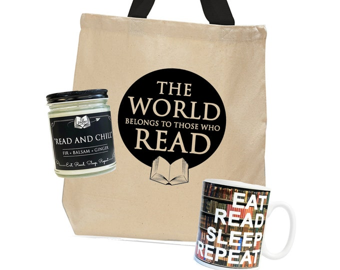 Read and Chill Bundle! -Bookish gift -Reader Ceramic Mug -Coffee&Tea-Book lover Candle -Inspirational Tote-Gift for book lover -Teacher Gift