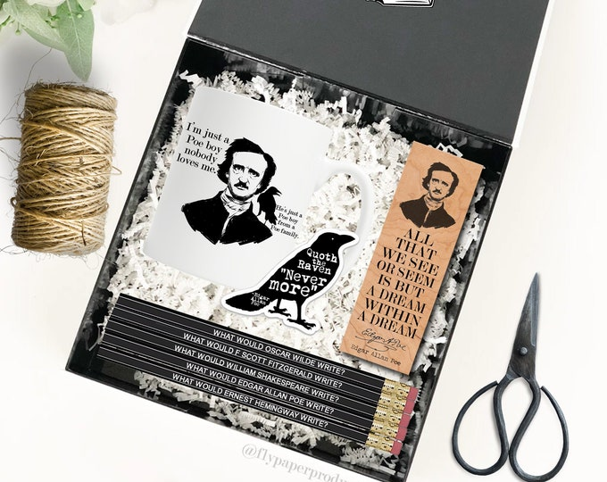 The Ultimate Edgar Allan Poe Gift Set - The Raven- Poet - Poetry - Literary Gift Box - Famous Author - Classic Literature - Poe Fan Club