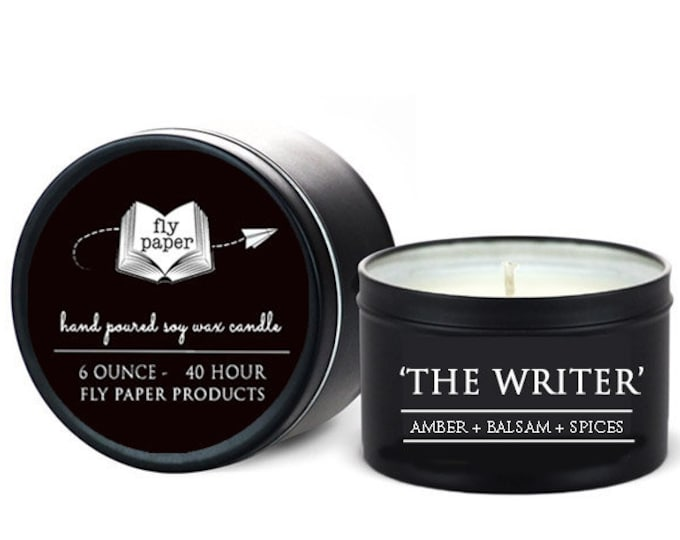 The Writer - 6oz Travel Tin Hand Poured Soy Candle- Amber + Balsam + Spices - Book Lover Candle - Literary Candle - Writer Inspired - Author