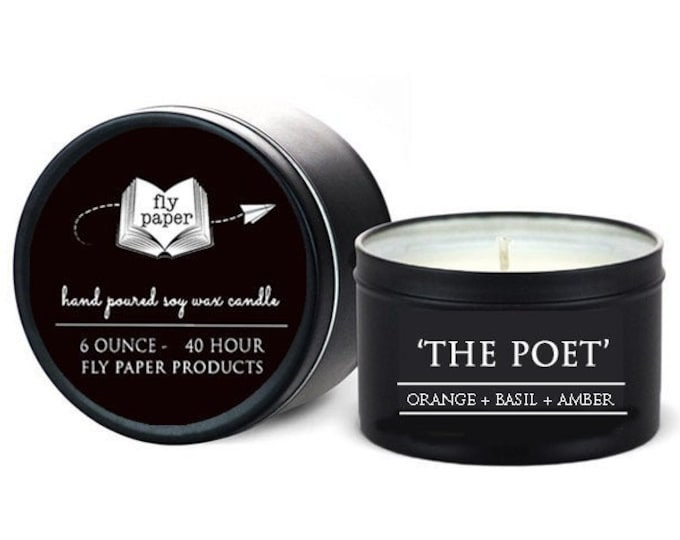 The Poet - 6oz Travel Tin Handpoured Soy Candle - Orange + Basil + Amber - Book Lover Candle - Literary Candle - Book Inspired Gift