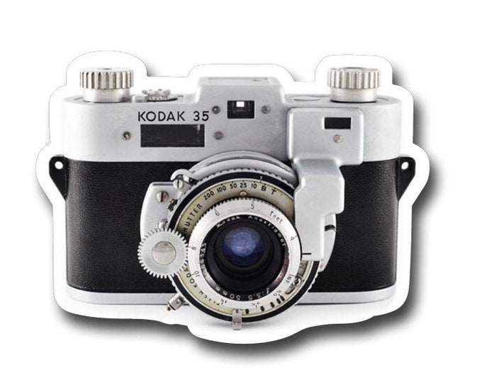 "Vintage Kodak Camera- 3"" vinyl Sticker- Laptop Decal - Water Bottle Sticker - Vintage Camera - Gifts for Photographers - Photography"