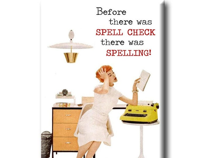 Before there was spell check there was spelling! Book themed FRIDGE MAGNET