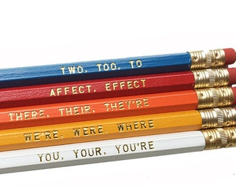 MOST POPULAR! Set of 5 Colorful Grammar Pencils - Book Lovers Pencils - Literary Pencils- Educational Pencils - Back to School Gifts