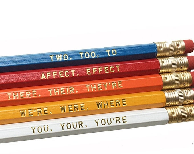 Set of 5 Colorful Assorted Grammar Pencils - Book Lovers Pencils - Literary Pencils- Educational Pencils - Home School Gifts