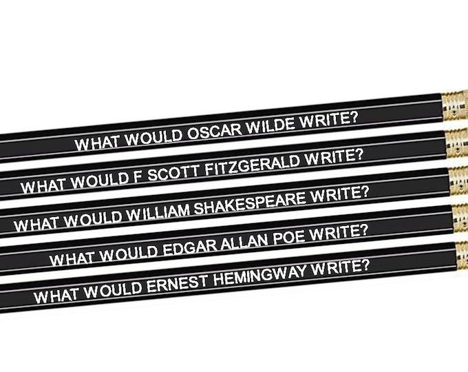 Set of 5 Famous Male Author Inspiration Pencils - Oscar Wilde - Scott Fitzgerald - William Shakespeare- Edgar Allan Poe - Ernest Hemingway