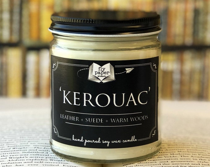 Kerouac - 9oz Handpoured Soy Candle - Leather + Suede + Warm Woods - Book Lover Candle - Literary Candle - Book Inspired Gift