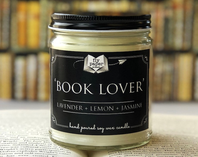 Book Lover - 9oz Hand poured Soy Candle - Lavender + Lemon + Jasmine - Literary Candle - Bookish Gift- Bookworm- Library - Best Book Candle