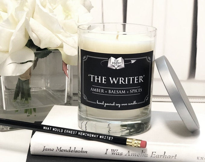 SALE- The Writer -13.5oz Hand poured Soy Candle -Amber + Balsam + Spices - Book Lover Candle - Literary Candle - Boxed Candle
