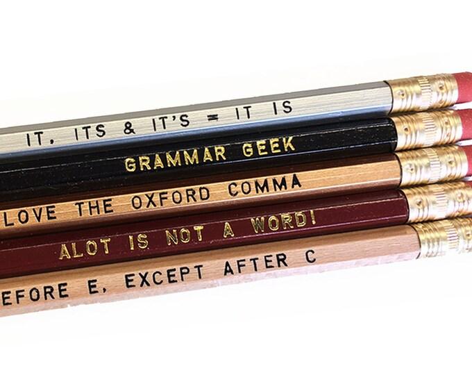 Set of 5 Assorted Grammar Pencils - Silver - Black - Brown - Burgundy - Grammar Geek - Writer - Writing- Gift for Writer - Gift for Teacher