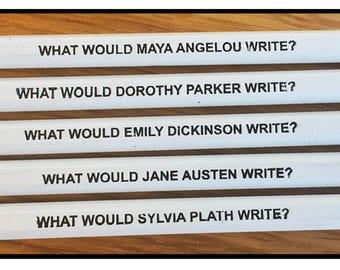 Set of 5 Famous Female Author Inspiration Pencils