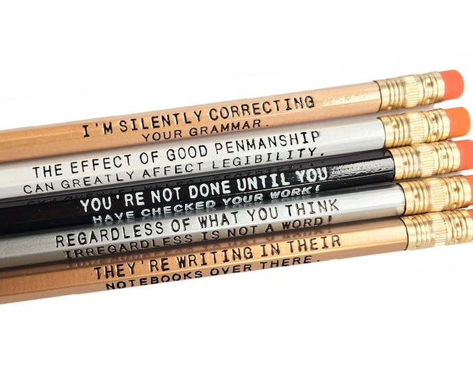 Set of 5 Assorted Deluxe 2 line Grammar Pencils - Witty - Grammar lover - Teacher Gift - Literary Pencil - Gift for Writer - Funny