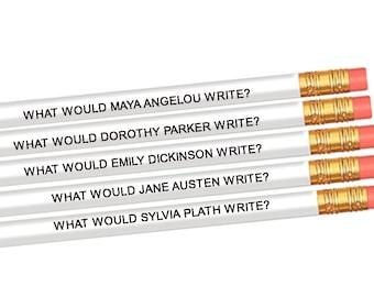 Set of 5 Famous Female Author Inspiration Pencils - Maya Angelou - Dorothy Parker - Emily Dickinson - Jane Austen - Sylvia Plath-Writer Gift