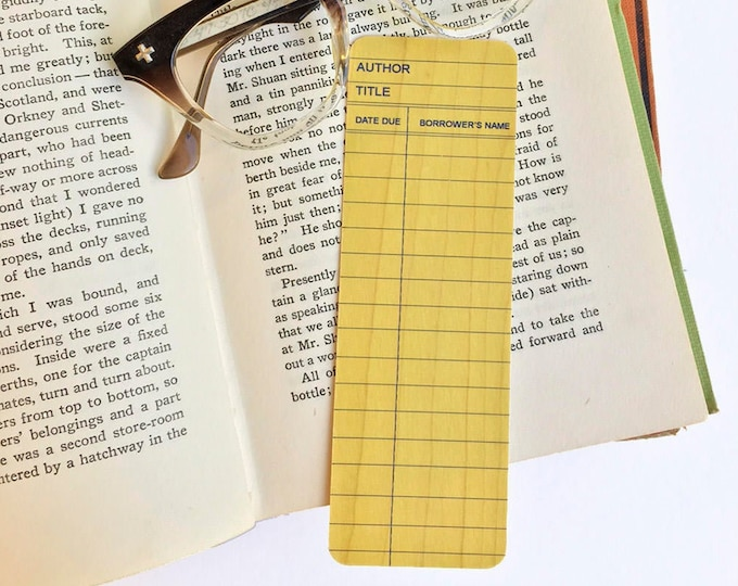 Yellow Library Book Card design -Wooden Maple Bookmark - Vintage Library Card - Book lover Gift- Reader Gift - Eco friendly Made in Michigan