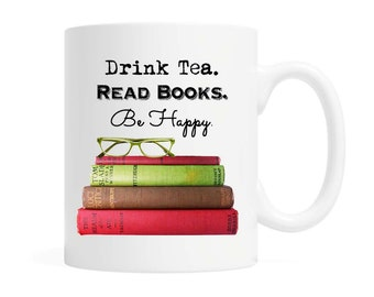 38dbe53a6f Drink Tea. Read Books. Be Happy. Cotton Canvas Tote Bag
