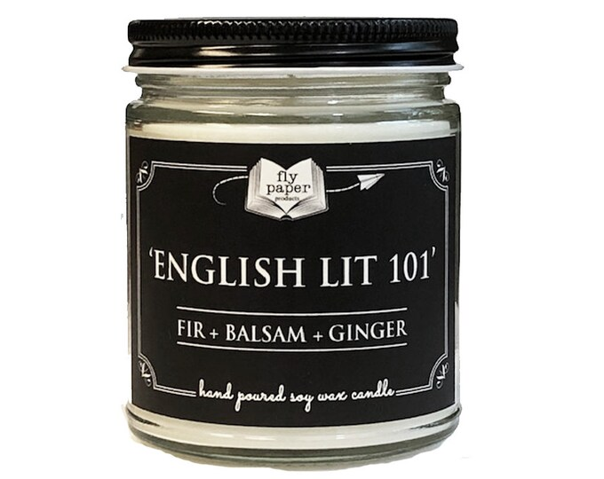 English Lit 101 - 9oz Handpoured Soy Candle - Fir + Balsam + Ginger - Book Lover Candle - Literary Candle - Book Inspired