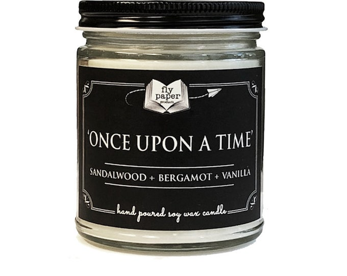 Once Upon A Time - 9oz Handpoured Soy Candle - Sandalwood + Bergamot +Vanilla - Book Lover Candle- Literary Candle - Fairytale Book Inspired