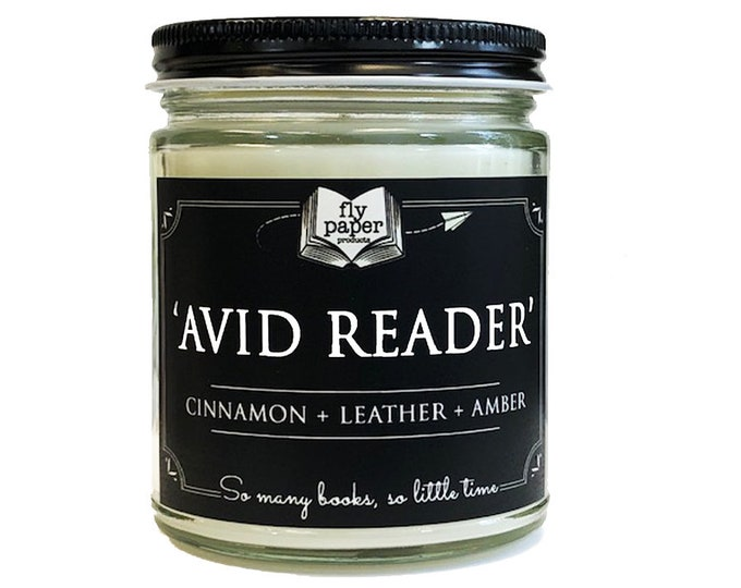 Avid Reader 9oz Handpoured Soy Candle- Cinnamon+ Leather + Amber - Book Lover Candle - Literary Candle - Book Inspired