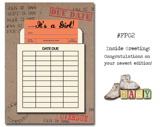 It's a Girl!. Book Themed New Baby Card with a Vintage Book Card and Library Pouch.