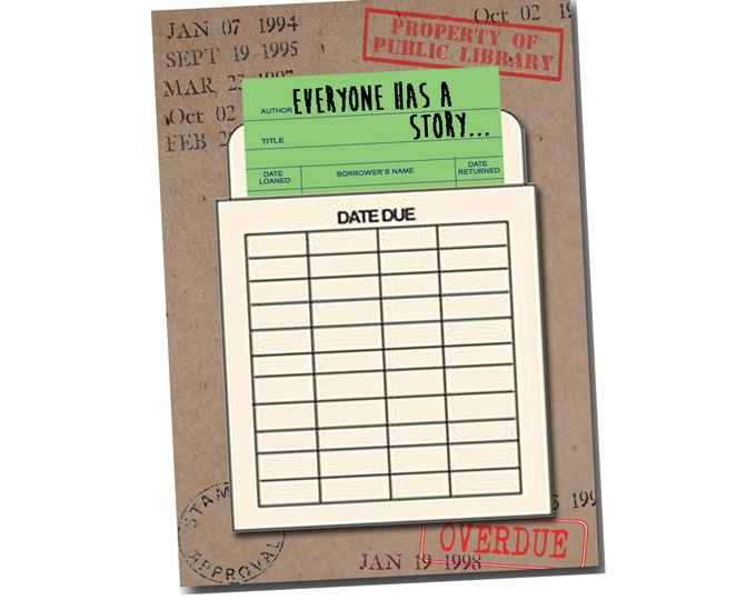 Everyone has a story. Book Themed Thank You Card with a Vintage Book Card and Library Pouch.