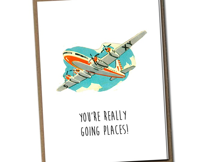 You're really going places! Classic Linen Series Greeting Card- Friendship Card