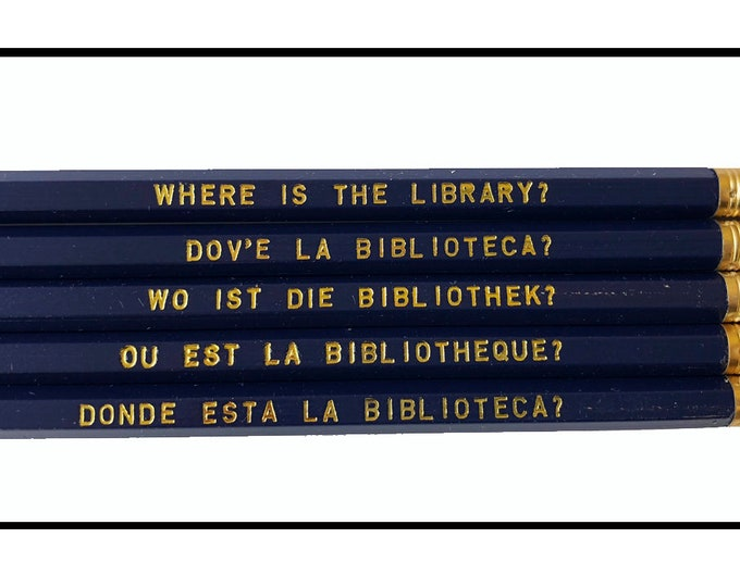 Set of 5 'Where is the Library' Language Pencils